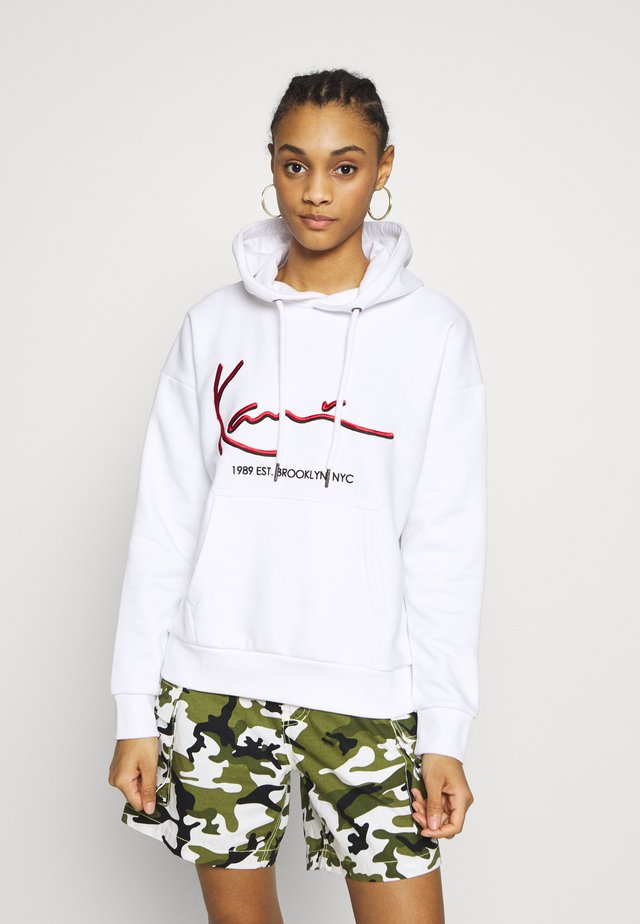SIGNATURE HOODIE - Mikina skapucí - white/red