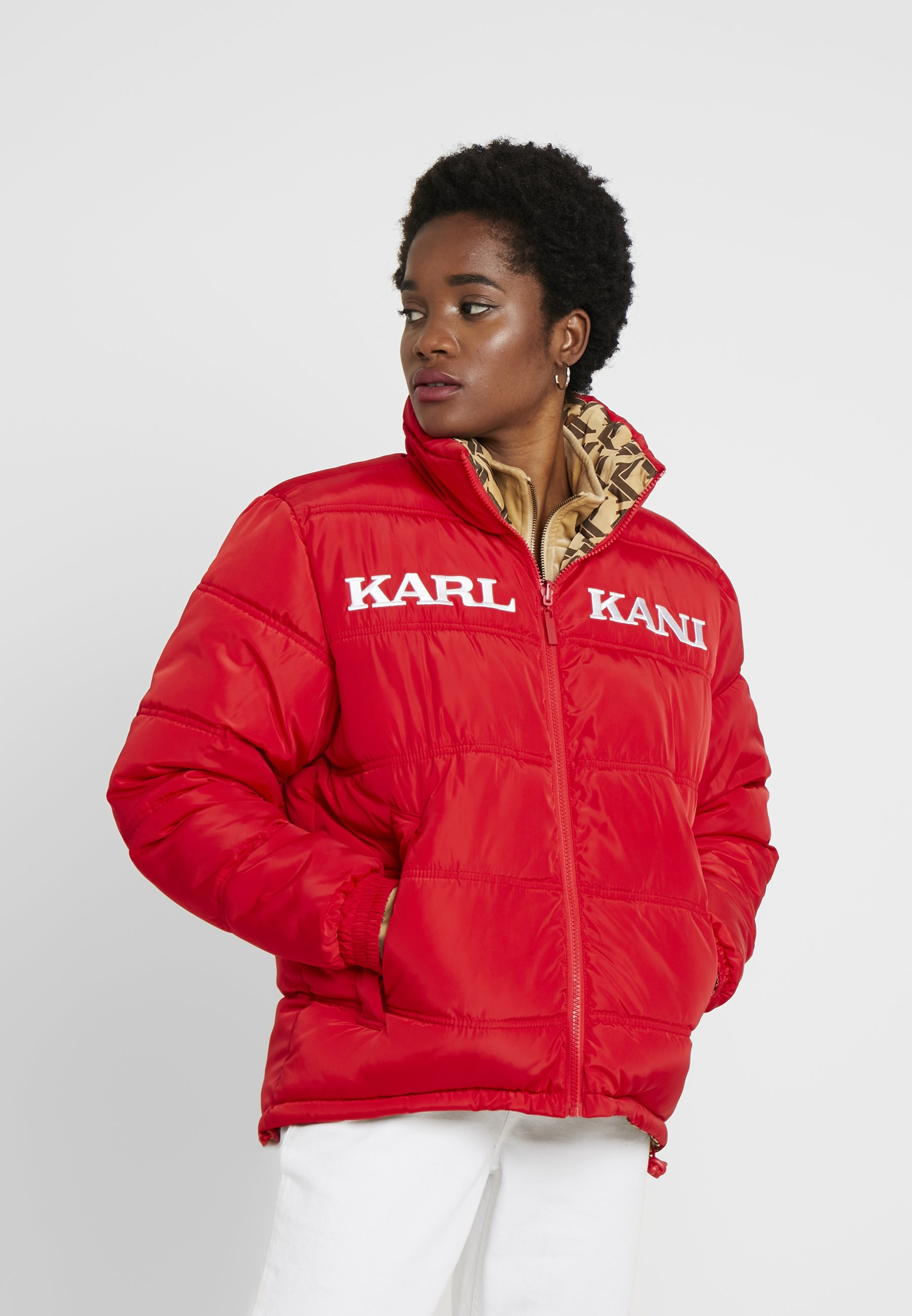 Red Retro Reversible JacketVeste camel Kani Puffer Karl brown D'hiver rxeCodBW