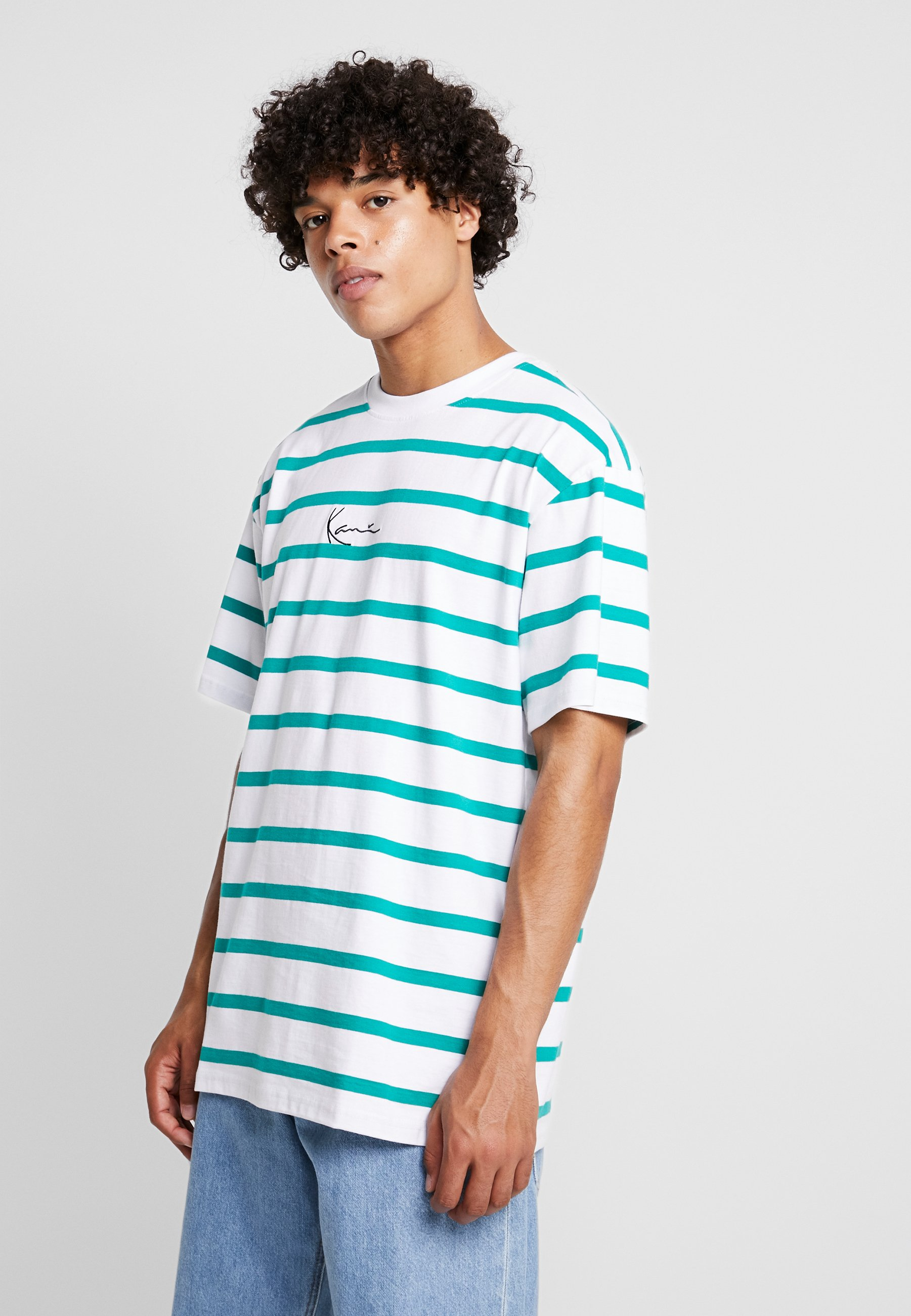 TeeT White green Karl shirt Stripe Imprimé Kani Signature K1JcTl35uF