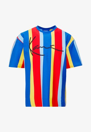 SIGNATURE PINSTRIPE TEE - T-shirt med print - blue/red/yellow/light blue