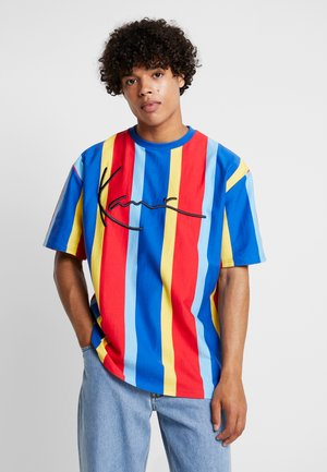 SIGNATURE PINSTRIPE TEE - T-shirt con stampa - blue/red/yellow/light blue