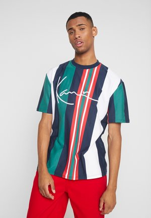 SIGNATURE STRIPE TEE - T-shirt imprimé - white/navy/green/red
