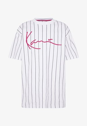 SIGNATURE PINSTRIPE TEE - T-shirt z nadrukiem - white/black/red