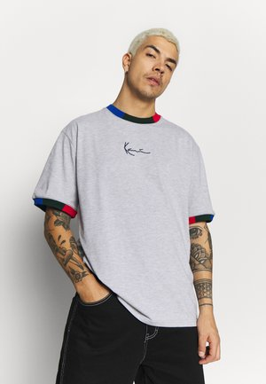 SIGNATURE RINGER TEE - Print T-shirt - grey/navy/green/red