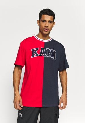 COLLEGE BLOCK TEE - T-Shirt print - red/navy/white