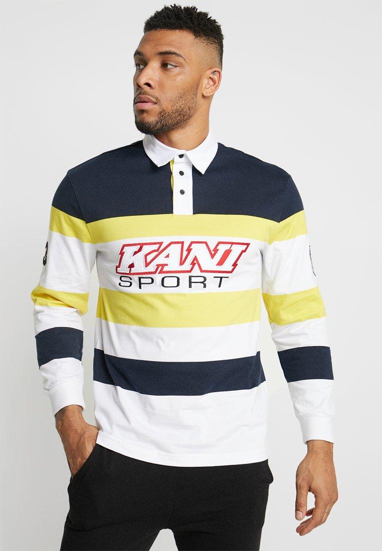 Karl Kani - BLOCK RUGBY - Polo shirt - navy/yellow/white