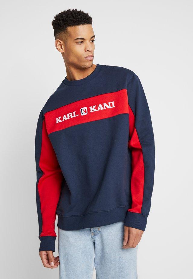 RETRO BLOCK CREW - Sweatshirt - navy/red
