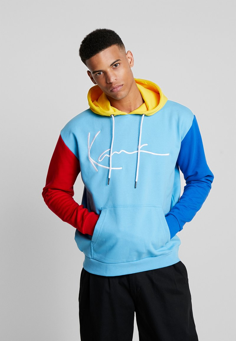Karl Kani - SIGNATURE BLOCK - Hoodie - light blue/red/navy/yellow