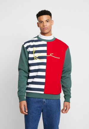 SIGNATURE BLOCK CREW - Mikina - navy/white/red/green