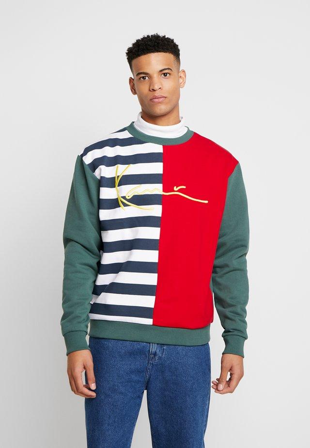 SIGNATURE BLOCK CREW - Sweatshirt - navy/white/red/green