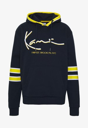 SIGNATURE BLOCK HOODIE - Sweat à capuche - navy/yellow/white