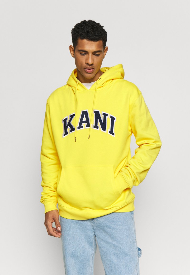 Karl Kani - COLLEGE HOODIE - Mikina skapucí - yellow/navy/white