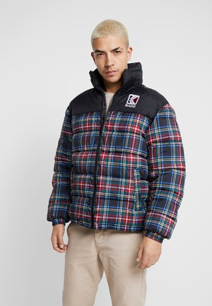 RETRO CHECKED PUFFER JACKET - Giacca invernale - black/orange/green/white