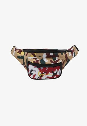 SIGNATURE TAPE WAIST BAG - Sac banane - burgundy/white/black/yellow