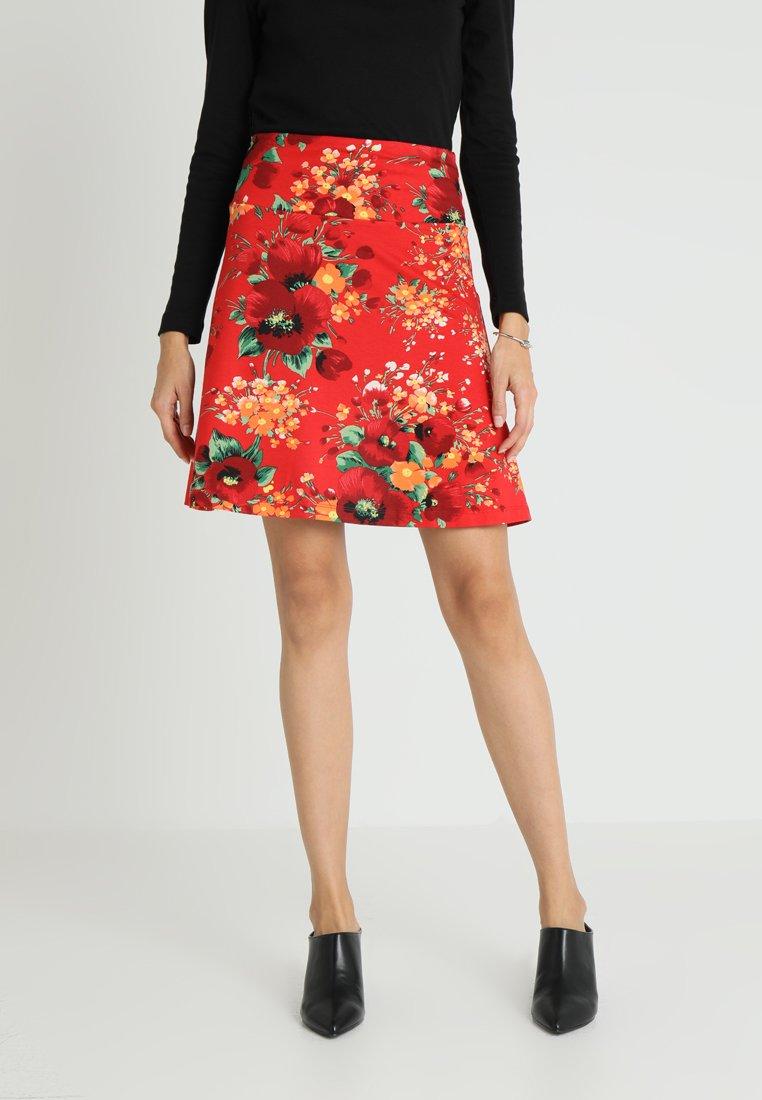 King Louie - BORDER SKIRT SPLENDID - A-line skirt - fiery red