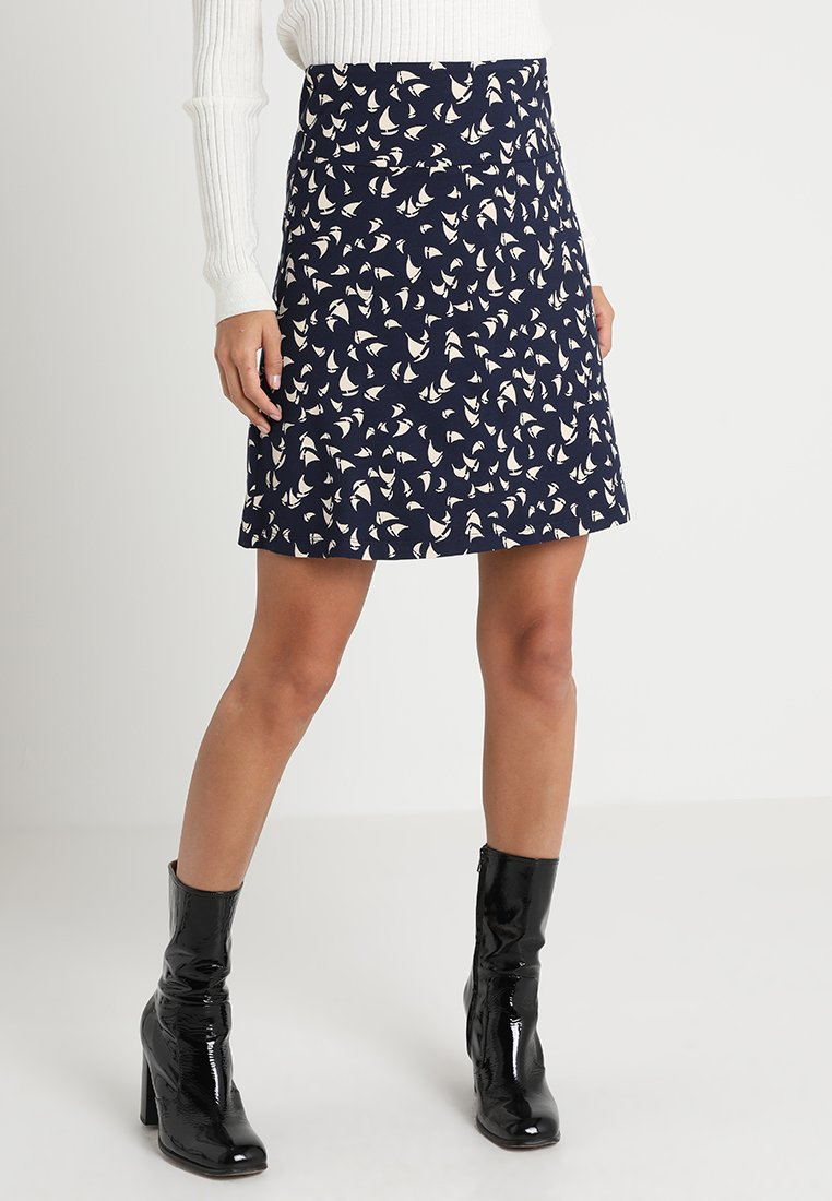 King Louie - BORDER SKIRT MARINA - A-line skirt - blue