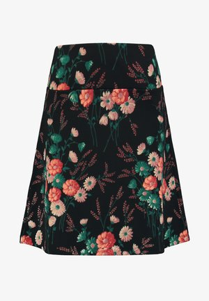 BORDER SKIRT FIELDFLOWER - A-snit nederdel/ A-formede nederdele - black