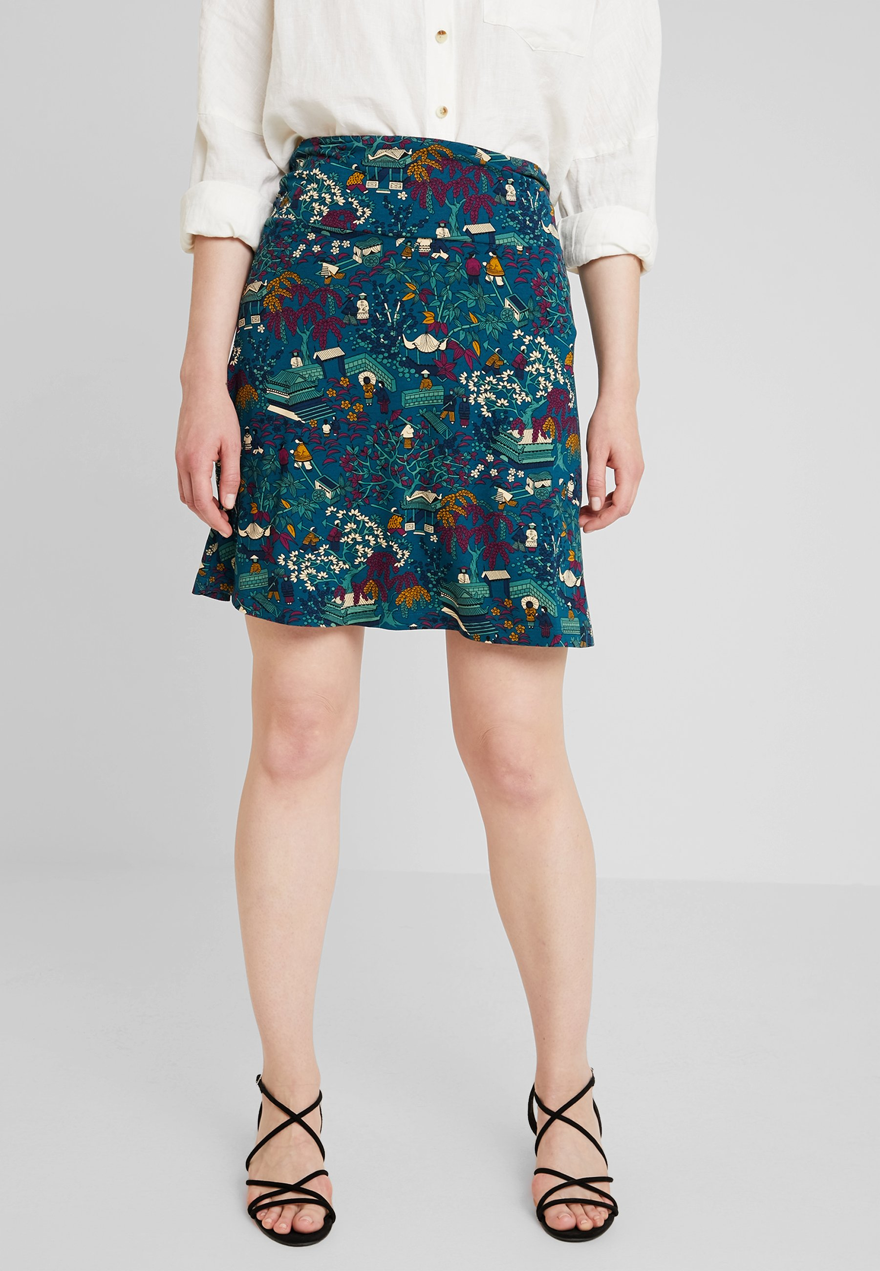 King Louie BORDER SKIRT MANZAI - Gonna a campana autumn blue