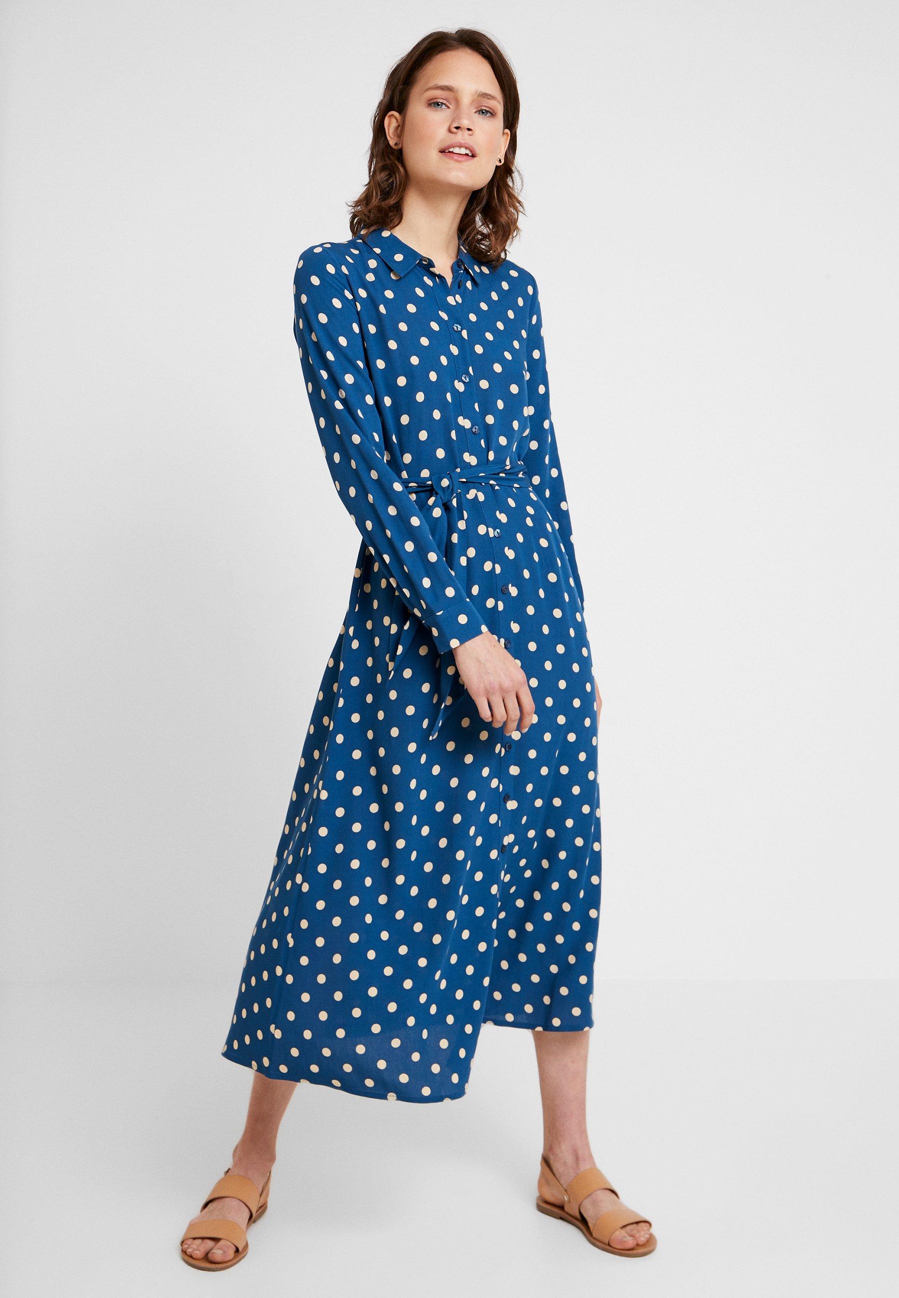 Louie Rosie PolkadotRobe Autumn Midi King Blue Dress Longue W29DHEI