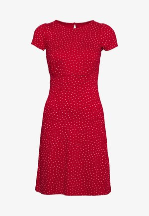 MINI DRESS LITTLE DOTS - Žerzejové šaty - chili red