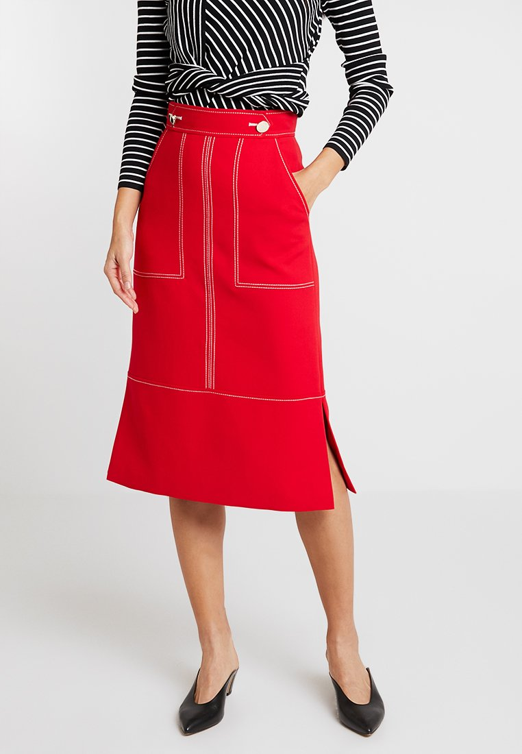 Karen Millen - CONTRAST STITCH LONG PENCIL SKIRT - A-line skirt - red