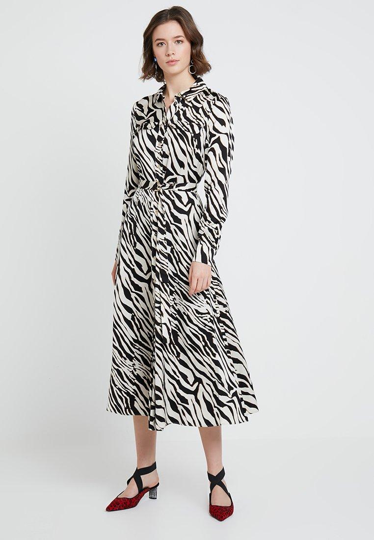 Karen Millen - ZEBRA PRINT DRESS - Shirt dress - black/white