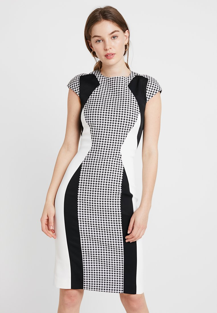Karen Millen - ANGULAR COLOUR BLOCK DRESS - Etuikleid - black/white