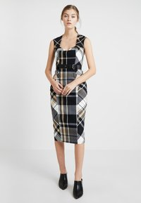 Karen Millen - CHECK INVESTMENT DRESS - Shift dress - black/white/beige - 1