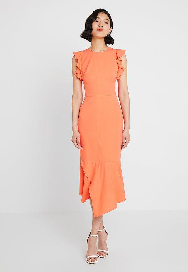 FIT AND FLARE RUFFLE DRESS - Cocktail dress / Party dress - coral