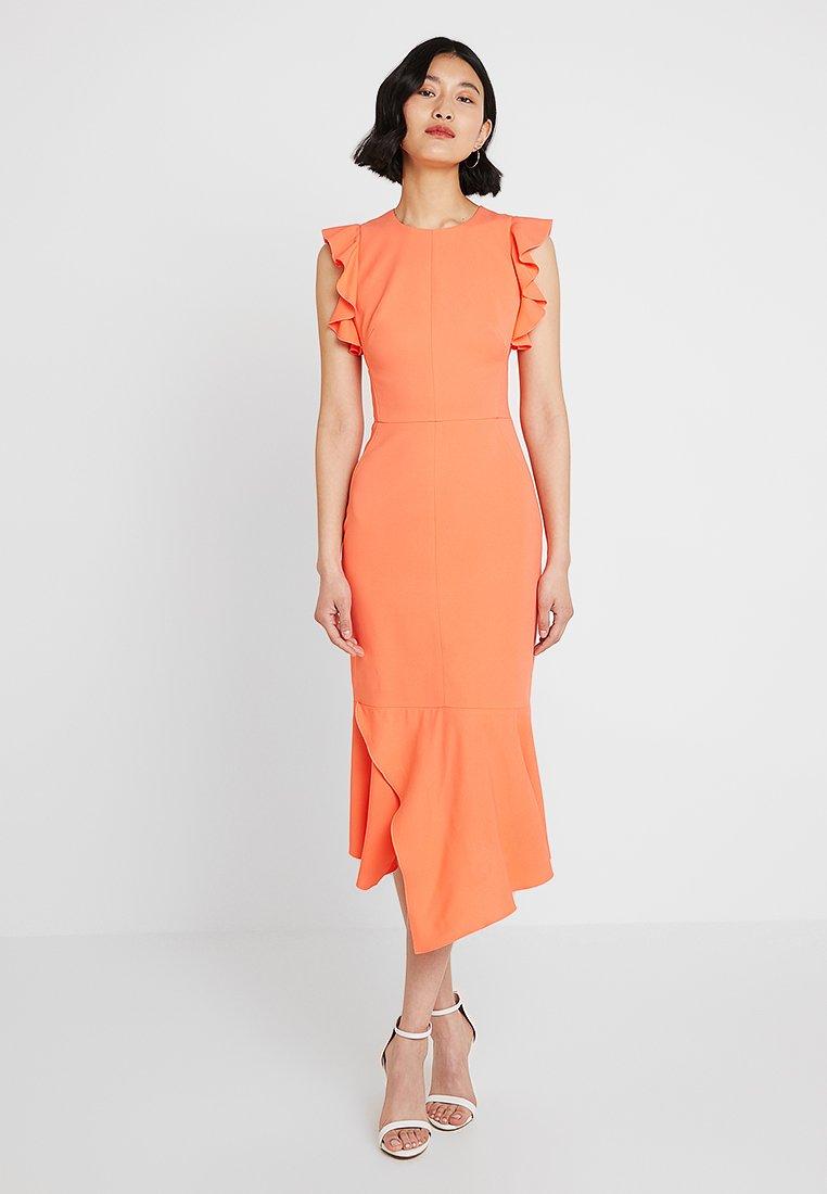 Karen Millen - FIT AND FLARE RUFFLE DRESS - Cocktailkleid/festliches Kleid - coral