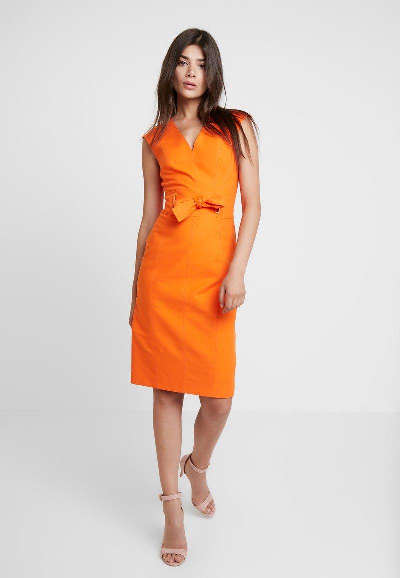 Karen Millen - TIE WAIST EYELET CONTOUR DRESS - Shift dress - ivory
