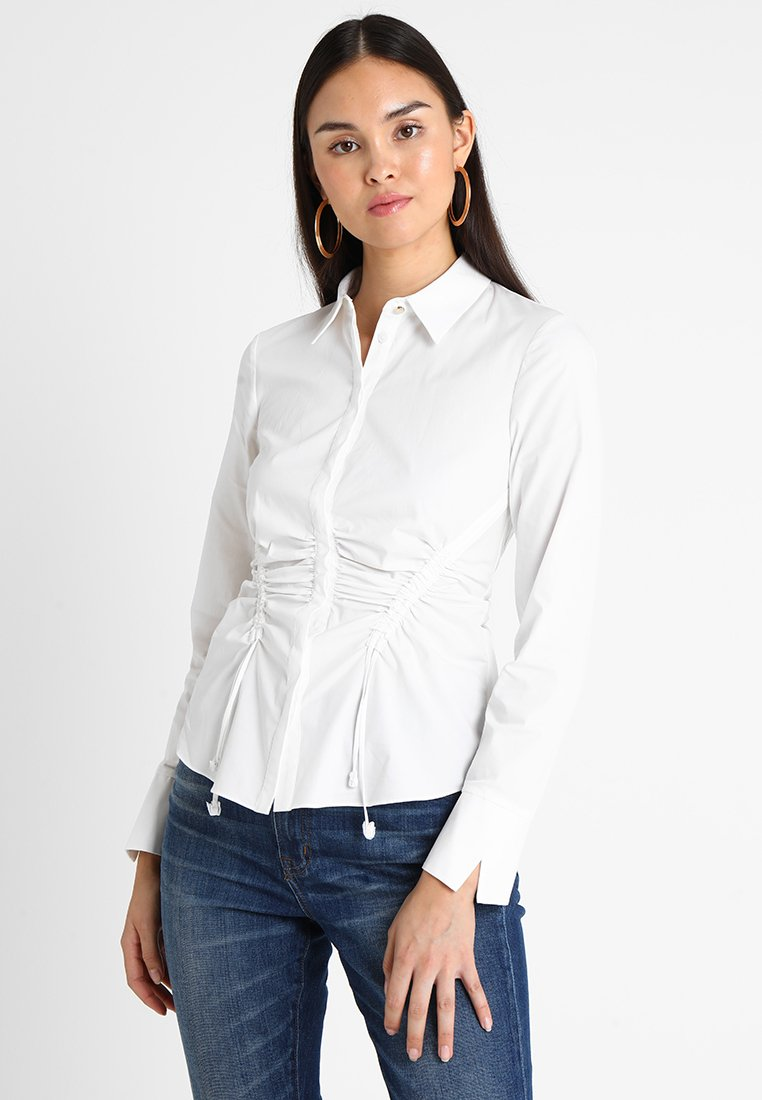 Karen Millen - DRAWSTRING AND RUCHE - Button-down blouse - white