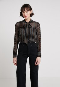 Karen Millen - BUCKLE AND CHAIN PRINT COLLECTION - Button-down blouse - brown/multi - 0