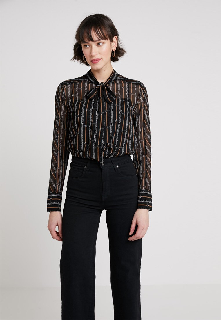 Karen Millen - BUCKLE AND CHAIN PRINT COLLECTION - Button-down blouse - brown/multi