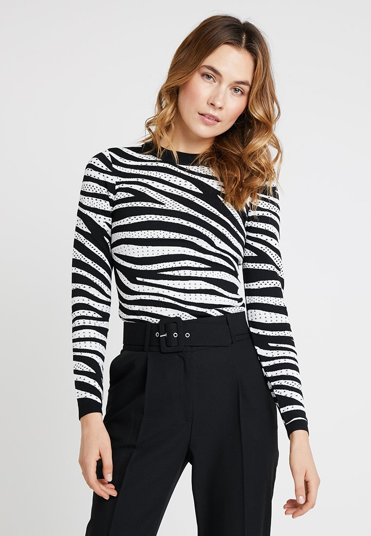 Karen Millen - ZEBRA SKINNY COLLECTION - Trui - black/white