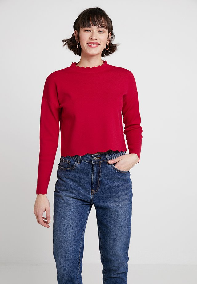 SCALLOP EDGE JUMPER - Stickad tröja - red