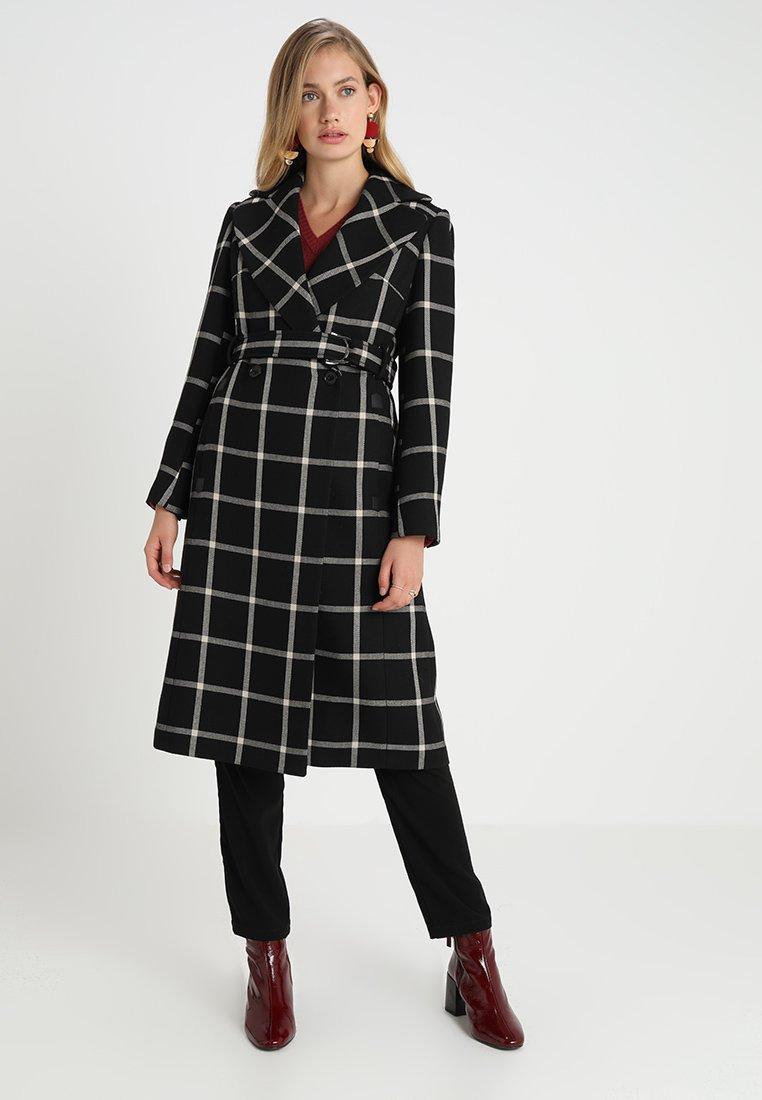 Karen Millen - BOLD CHECK WRAP COAT - Classic coat - black/multi