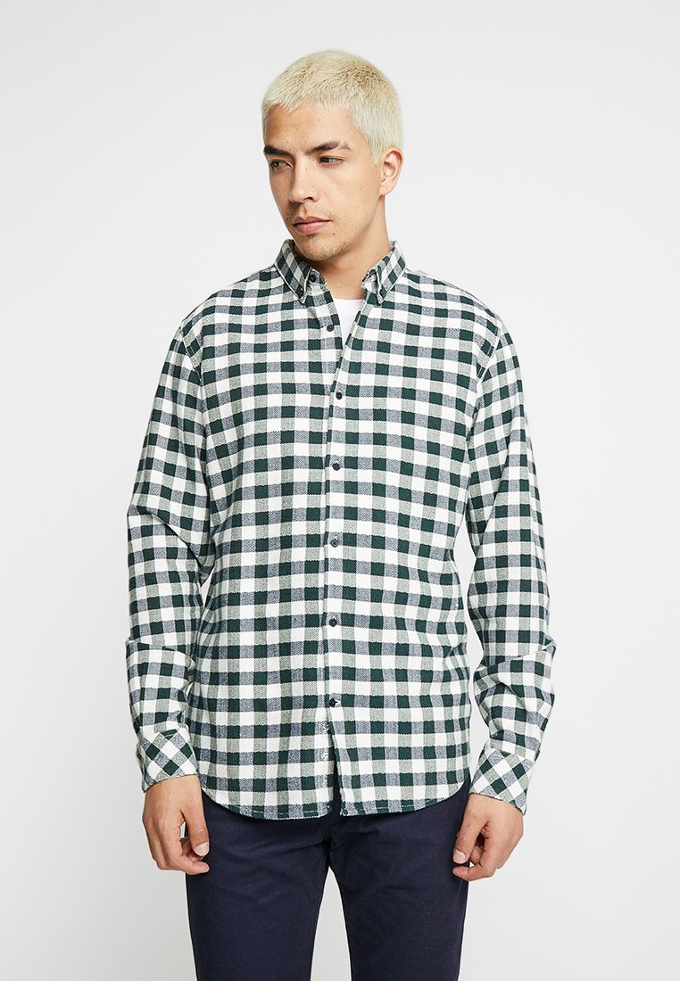Knowledge Cotton Apparel - FISHBONE CHECKED - Hemd - green forest