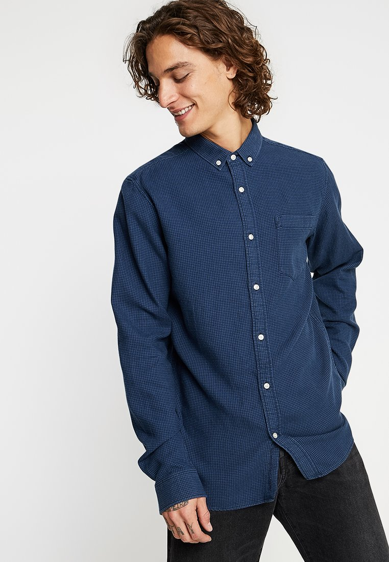 Knowledge Cotton Apparel - ZIG ZAK SHIRT - Košile - dark denim