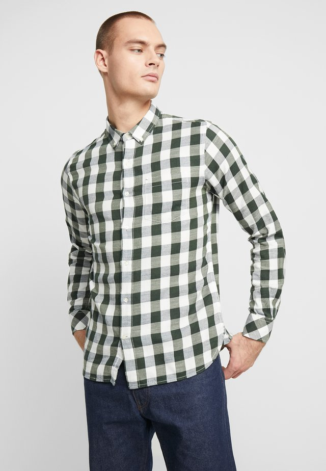 LONG SLEEVE CHECKED SLUB SHIRT - Shirt - total eclipse