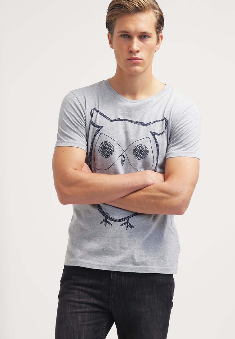 Knowledge Cotton Apparel - SINGLE WITH OWL - T-Shirt print - grey melange