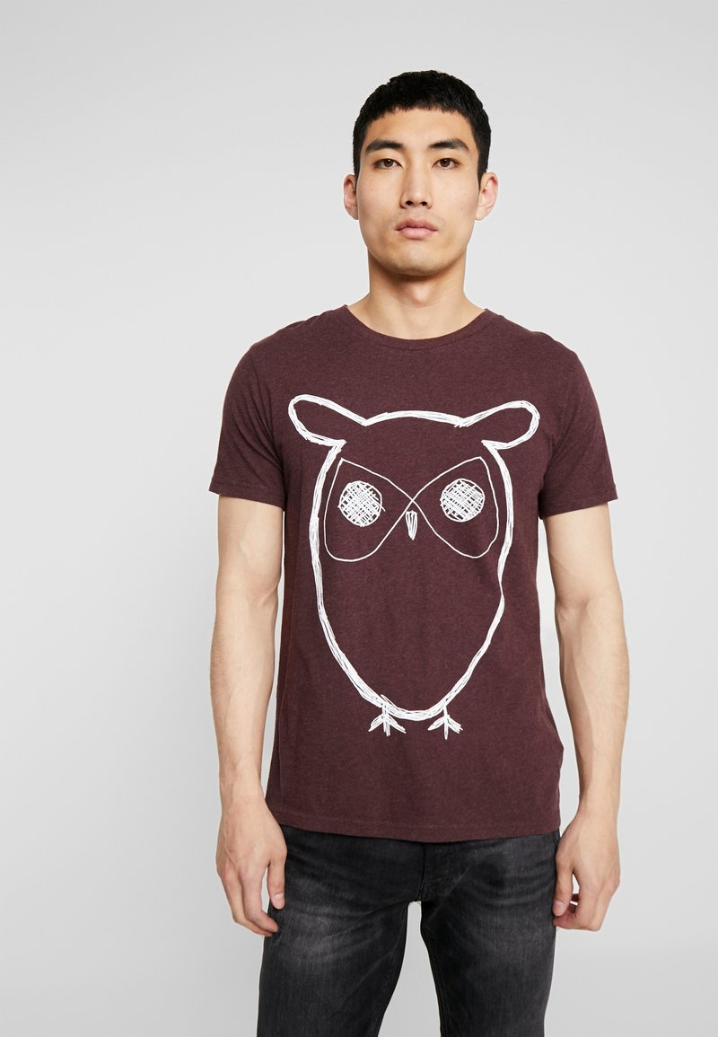 Knowledge Cotton Apparel - SINGLE WITH OWL - Print T-shirt - decadent choklade melange