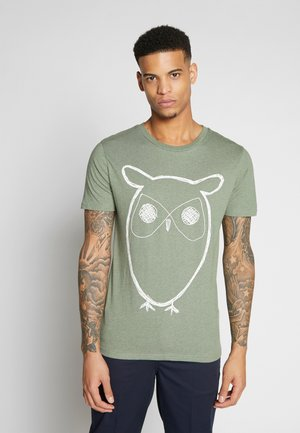 ALDER BIG OWL TEE - T-shirt print - gren melange