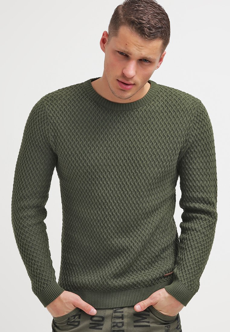 Knowledge Cotton Apparel - SMALL DIAMOND - Strickpullover - rifle green