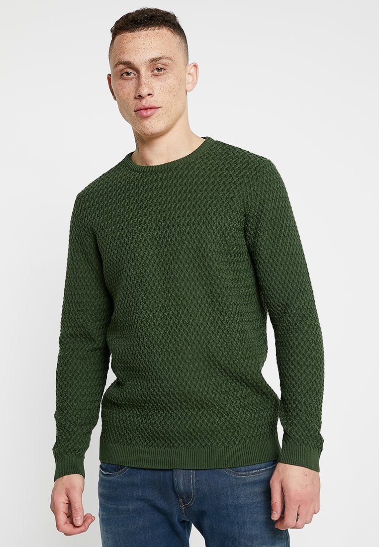 Knowledge Cotton Apparel - SMALL DIAMOND - Strickpullover - green forest