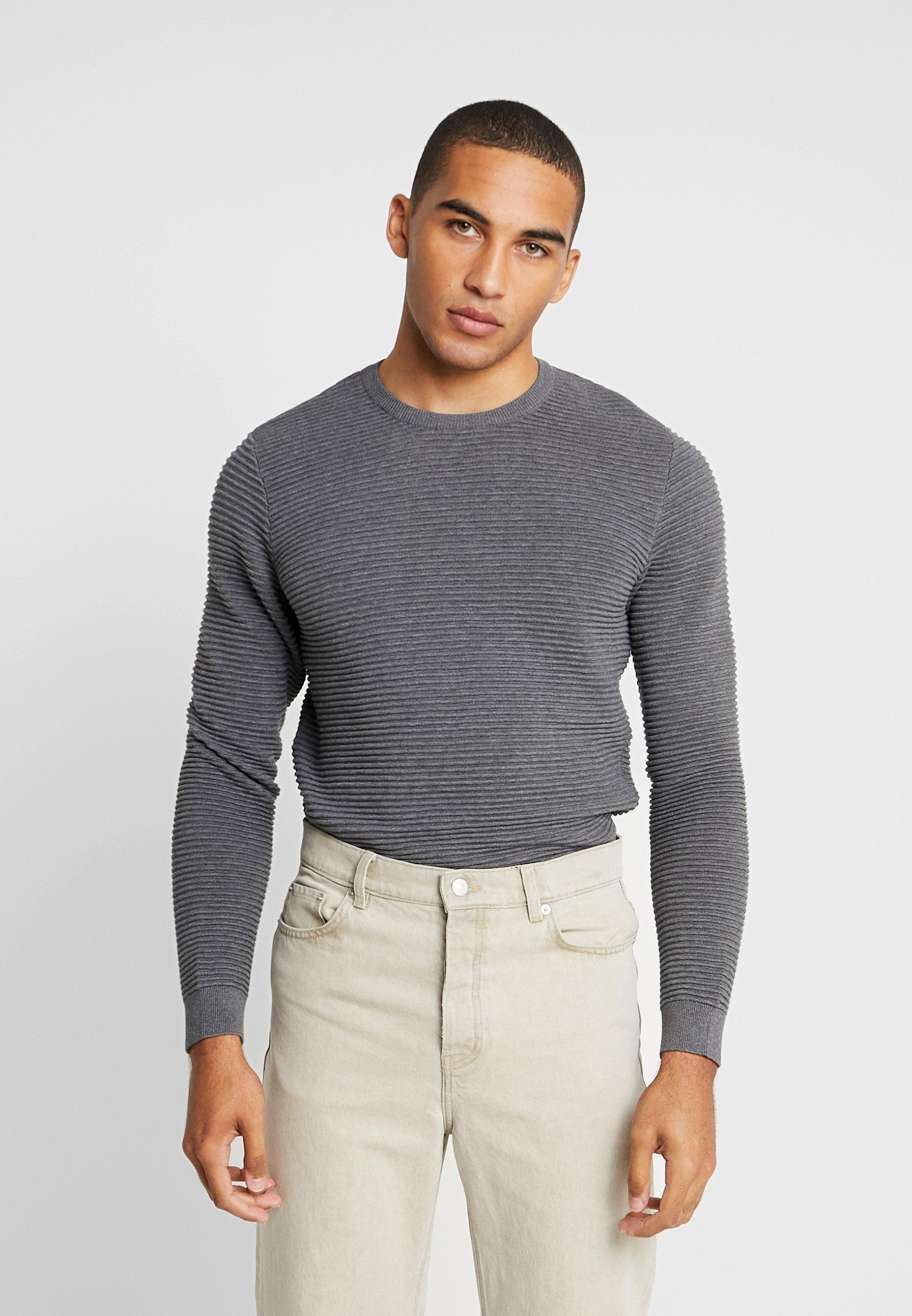 Apparel Wave Knowledge O neckPullover Grey Dark Cotton Melange SUzVqMp