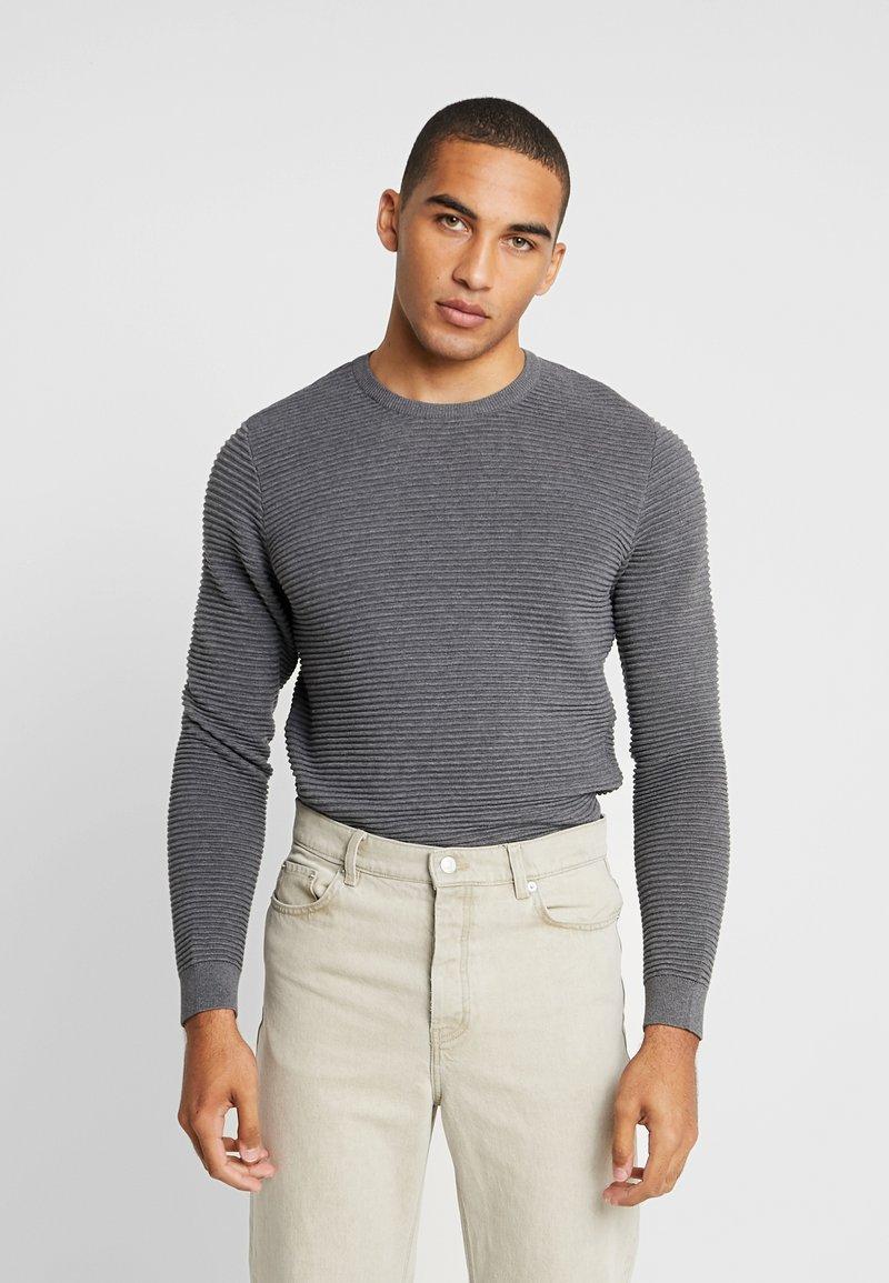 Knowledge Cotton Apparel - WAVE O-NECK - Strikpullover /Striktrøjer - dark grey melange