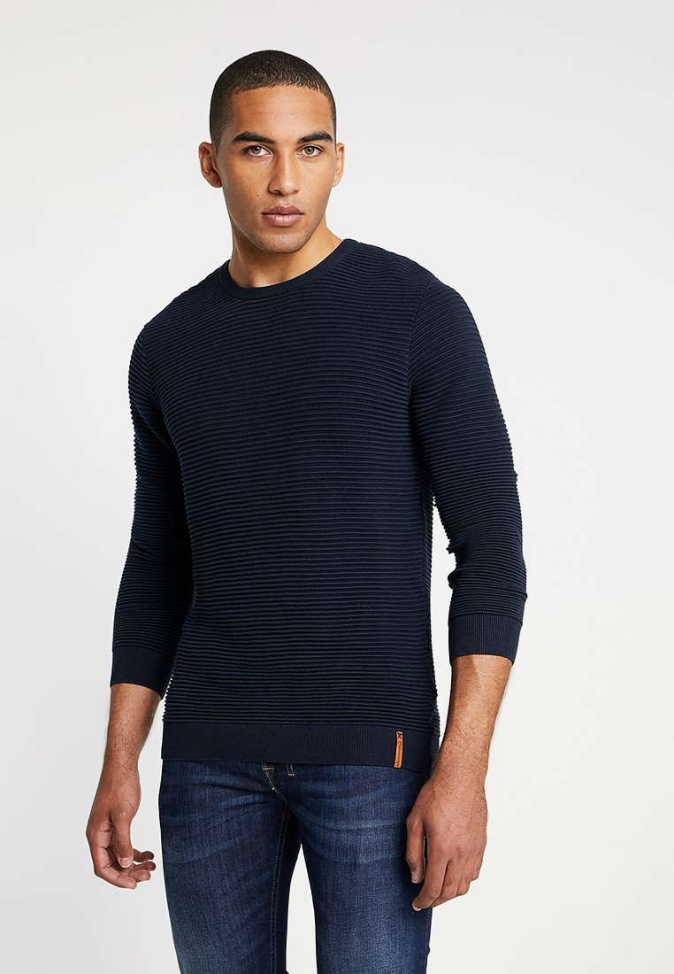 Knowledge Cotton Apparel - WAVE O-NECK - Strickpullover - total eclipse
