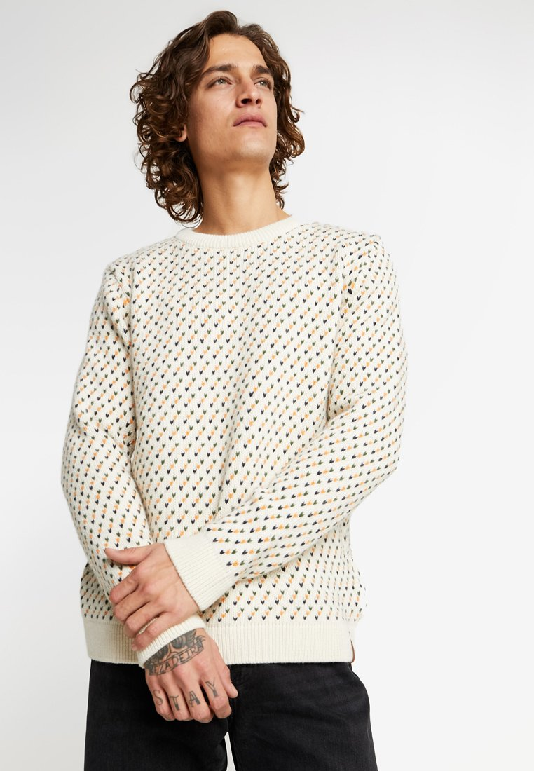 Knowledge Cotton Apparel - O-NECK - Sweter - winter white