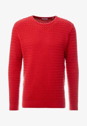 ONECK STRUCTURED - Stickad tröja - pompeain red